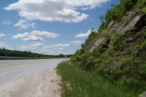 This rock cut is located on Highway 7 west of Ottawa, Ontario.